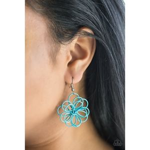 Midsummer Magic Blue Wire Floral Earrings